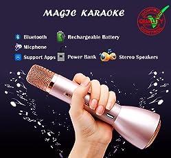 eighteen-u wireless microfono karaoke, portatile palmare Bluetooth karaoke Player altoparlante stereo per iPhone Android Smartphone o PC Home KTV festa all' aperto musica giocare cantare gadget, Rose Gold