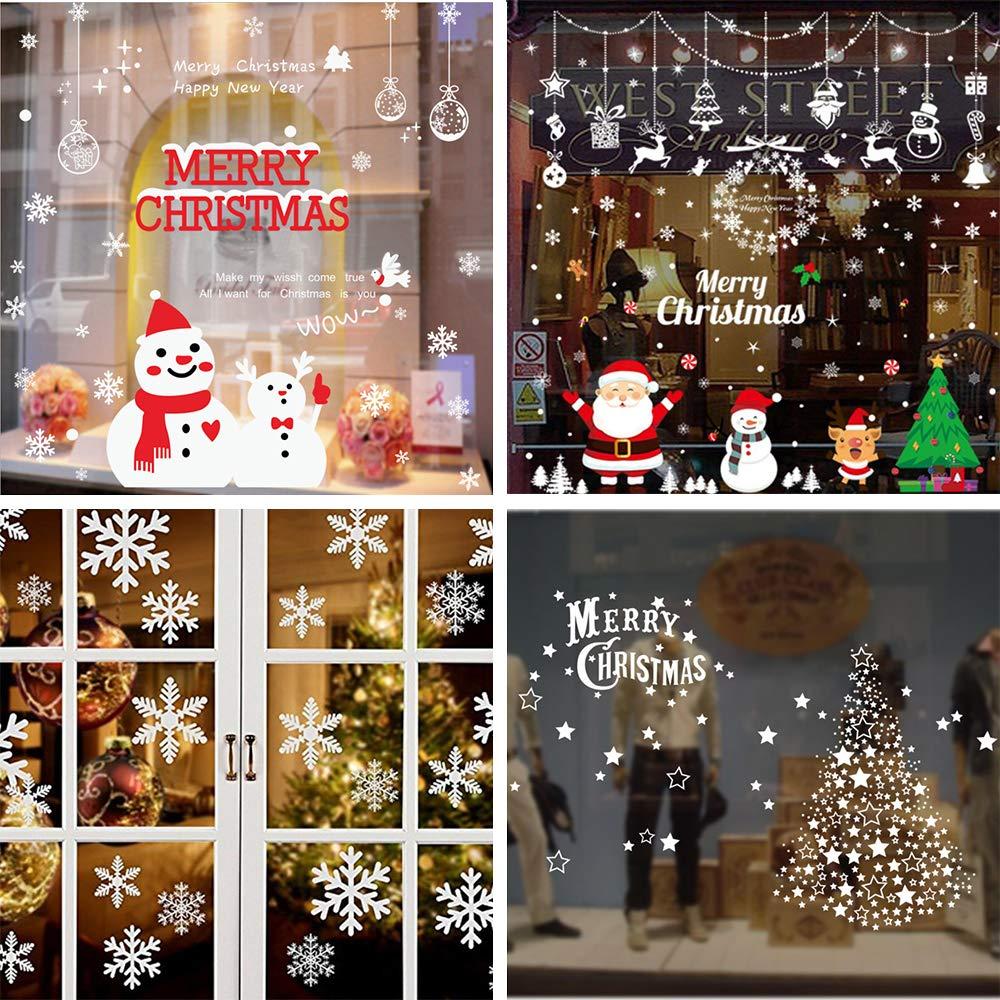 Shanke 4 Pagina Vetrofanie Adesive Natalizie Per Finestre Fiocco Pupazzo Neve Adesivi Natale Vetrine Negozi Porta Vetro Wall Sticker Rimovibile