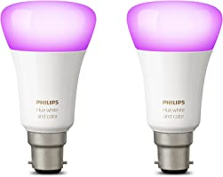 Philips Hue White and Colour Ambience Personal Wireless Lighting 2 x 9.5 W B22 Bayonet Cap LED Twin Pack Light Bulbs, Apple HomeKit Enabled, Works with Alexa