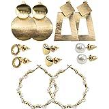 6 ParesConjunto de Pendientes de Moda, Juego Aretes para Mujeres, Aro Geométrico de Perlas, Pendientes de Corazón Círculo Me