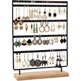QILICZ Sieradenstandaard, oorbelhouder, 100 gaten, oorbelstandaard, 5 dier, metalen oorbelorganizer met houten basis, oorstek