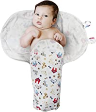 Square Unisex Baby's 100% Printed Cotton Adjustable Infant Swaddle/ Wrap for Baby Shower Gifts (Color 15)