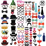 RYMALL 90PCS Neuer Stil Tlg Photo Booth Geburtstags Hochzeits Partei Funny Verkleidung [Schnurrbart Lippen Brille Krawatte Hüten] Dekoration Fotorequisiten Set