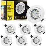 Spots LED Encastrables Orientable Bojim 6x GU10 6W Blanc Neutre 4500K Lumière du jour Spot Encastré Blanc Mat 600lm Equivalen