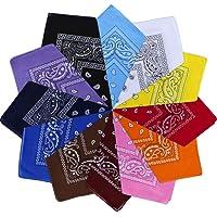 Vivibel Bandana 100% cotone, 12 cachemire, 55 x 55 cm, foulard per braccia, colori misti, per il collo, per la testa…