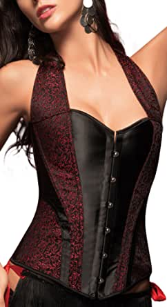 r-dessous Elegante, hochwertige Satin Corsage in schwarz rot Neckholder