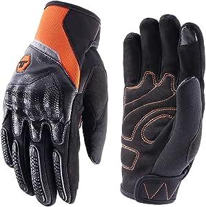 Motorradhandschuhe Herren Damen Touchscreen Motorrad Handschuh Sommer Cross Sport Handschuhe Leder Für Männer Frauen Orange Xl Auto