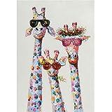 La famille de la girafe avec des lunettes peinture sur toile Animal mur Art impression affiches sur toile colorées girafe pho