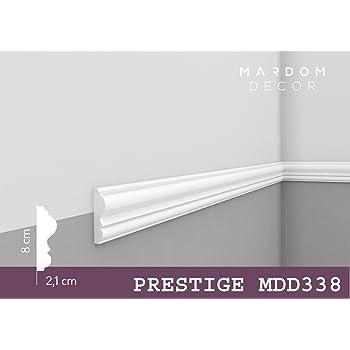 MARDOM DECOR Wandleiste I MDD338 I Friesleiste Stuckleiüste Profilleiste  Zur Universellen Gestaltung Von Wänden Täfelung Und Rahmen I 240 Cm X 8,0  Cm X 2,1 ...