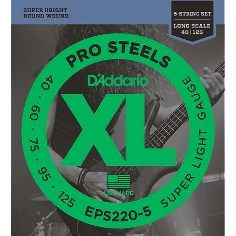 D'Addario EPS220-5 - Juego de cuerdas para bajo eléctrico de acero, 040' - 125'