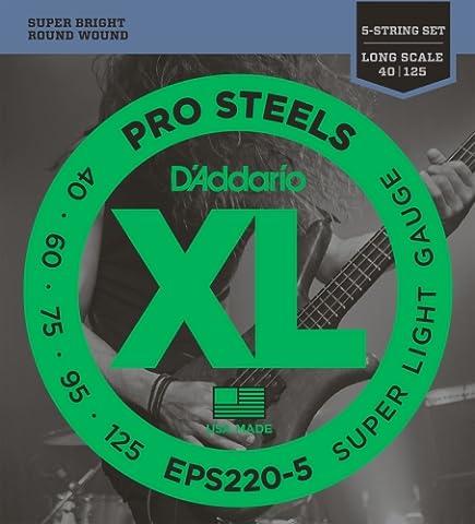 D'Addario Cordes pour basse 5 cordes D'Addario ProSteels EPS220-5, Super Light, 40-125, cordes longues