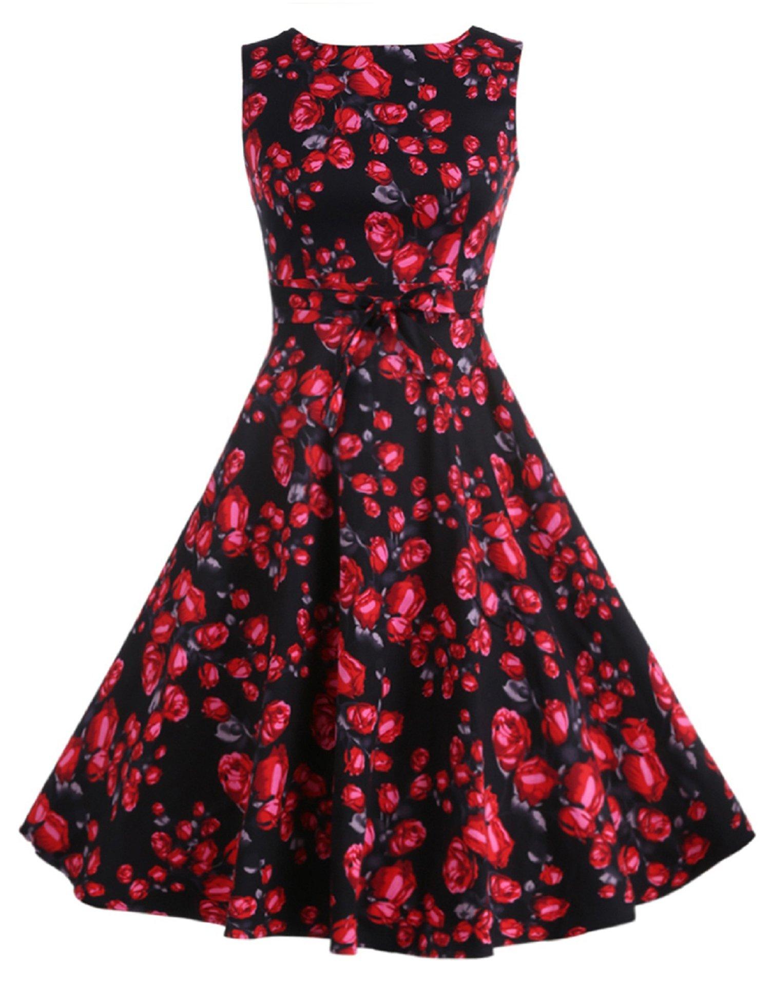 f8d14fa618 ACEVOG 1950s Vintage Hepburn Style A-line Sleeveless Cotton Swing Dress  Multi Colors S~Plus Size 4X