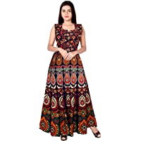 Monique Brand Fine Quality Cotton Women's/Girls Traditional Rajasthani Jaipuri Printed Maternity Summer Long Gown Middi…
