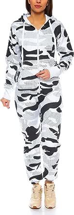 Crazy Age Men's / Women's Partner Look Jumpsuit Jumpsuit Romper Dungarees Onesie Sweat Camouflage Design Warm Soft Sporty