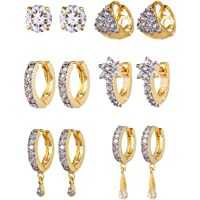 YouBella Combo of Trendy American Diamond Earrings