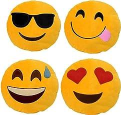 Nitsha Emoji Smile Stich Decorative Pillow Pack-4