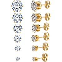 JDGEMSTONE Stainless Steel Silver Gold 6Pairs Cubic Zirconia Stud Earrings Set for Women Men Girls Round,Square