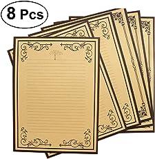 NUOLUX Vintage Writing Stationery Paper Kraft Letter Writing Paper Sets - 8Pcs