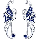 Yumilok Pendientes de Mariposa para Mujer Niña, en Plata 925, Clip de Oreja de Circón Pendientes de Escalada, Regalo de Cumpl