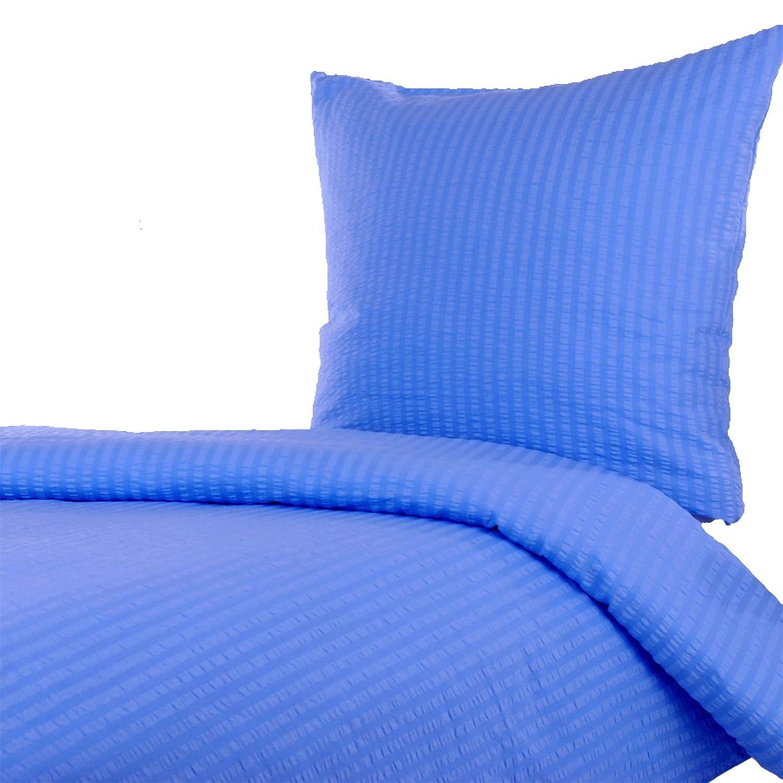 Seersucker Bettwäsche 135x200 80x80 Cm, Uni Blau, Baumwolle,  Reißverschluss, Bügelfrei, Pflegeleicht: Amazon.de: Küche U0026 Haushalt