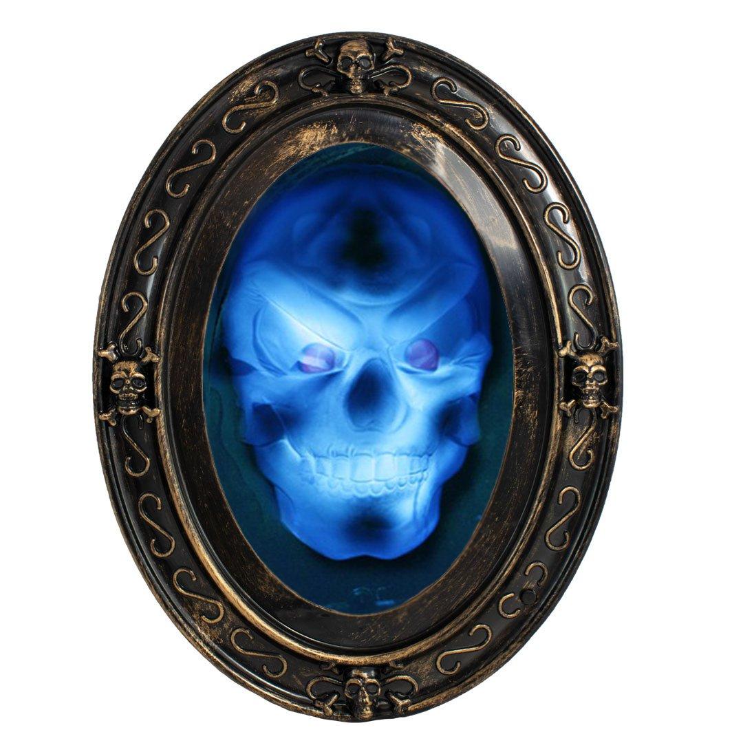 TRIXES Sprechender Spiegel in Schwarz und Gold Ovaler Halloween Spiegel mit gruseligen Bild