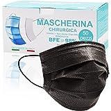 50 Pezzi MADE IN ITALY Mascherine Nere protettiva colorata personale 3 strati CE tipo II, Nasello Regolabile, Pacchi individu