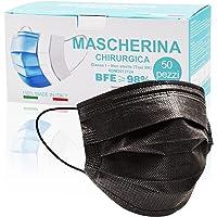 50 Pezzi MADE IN ITALY Mascherine Nere protettiva colorata personale 3 strati CE tipo II, Nasello Regolabile, Pacchi…