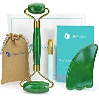 Rouleau de Jade Authentique et Gua Sha - Rouleau Jade Visage : 100% Naturel Jade - Jade Roller, Masseur de visage…