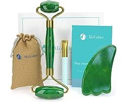 Rouleau de Jade Authentique et Gua Sha - Rouleau Jade Visage : 100% Naturel Jade - Jade Roller, Masseur de visage, Roller Vis