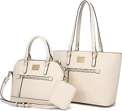 LOVEVOOK Handtasche Damen Set Tasche für Damen Groß Taschen Shopper Umhängetasche PU Leder Geldbörse Designer Schultasche Mädchen Teenager Tote Bag für Büro Schule Einkauf Reise Geschenk