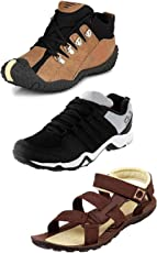 Tempo Men's Combo Pack of 2 Outdoor Shoes & 1 Sandals (DLX, DNGL & PWR-10 BRN)