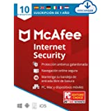 McAfee Internet Security 2021, 10 Dispositivos, 1 Año, Software Antivirus, Manager de Contraseñas, Seguridad Móvil, PC/Mac/An