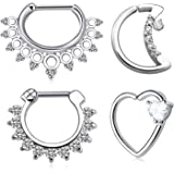 Mayhoop Setto Piercing Naso Orecchino Daith Cartilagine 16G Acciaio Chirurgico Anello Clicker Segmento Piercing Septum Bijoux
