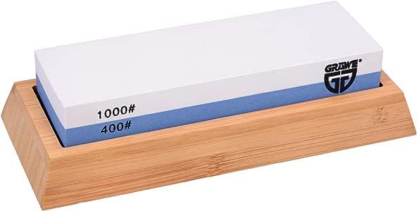 GRÄWE Wetzstein Körnung 400/1000 - Schleifstein aus Korund mit rutschfestem Bambus-Halter