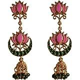 Touchstone Indian Bollywood Indian Bollywood Meenakari Enamel Lotus Beads Jhumki Designer Jewelry Earrings in Gold Tone for W