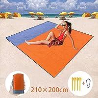 BETECK Coperta da Spiaggia, 210x200CM Coperta da Campeggio Tappetino Picnic Impermeabile Portatile con 4 Picchetti Fixed per Picnic, Spiaggia, Viaggi, Escursionismo, Campeggio (Arancione)