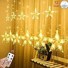 12 Sterne LED Lichtervorhang Lichterkette für den Innen- und Außenbereich, Afufu 2Meter 108 LED-Birnen Sternenvorhang, wasserdicht nach IP65, Fernbedienung mit 8 Leuchtmodi, Weihnachtsdeko für Fenster Garten und Haus (Warmweiß)