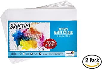 Brustro Artists' Watercolour Paper 300 GSM A4-25% cotton, Cold Pressed, 2 Packets (Each Packet Contains 9 + 3 Sheets Free)