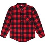 Edjude Camisa a Cuadros de Manga Larga para Bebé Niños Niñas con Botón Casual Formal Camisetas Algodón Cepillado Chaqueta 3-1