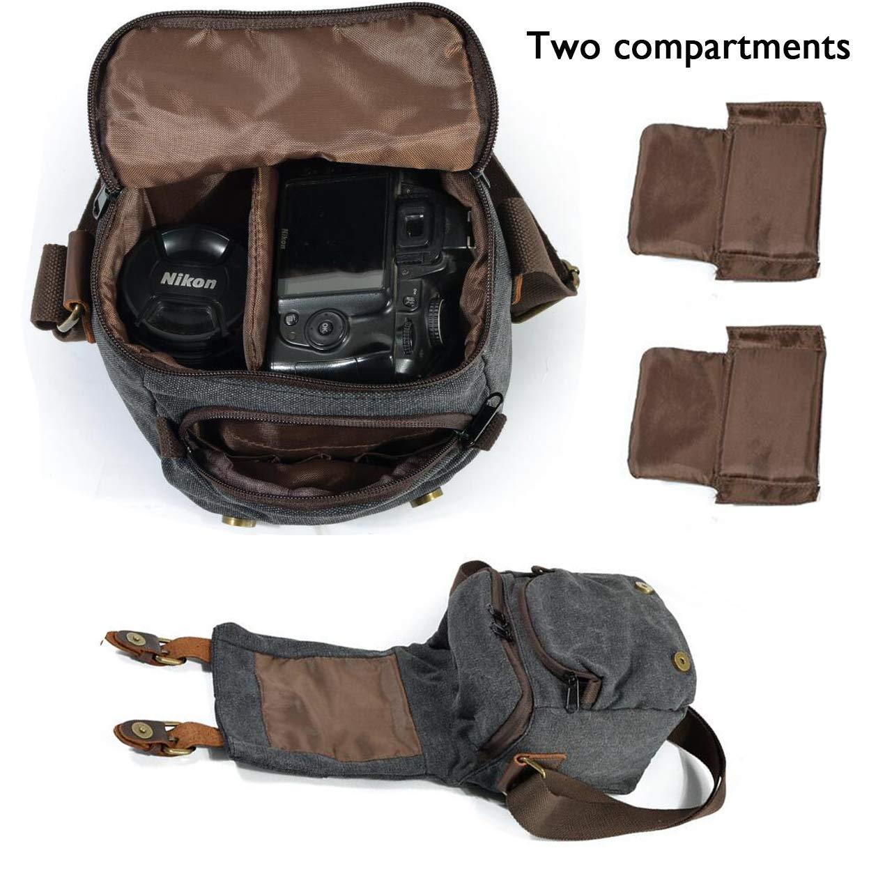 Vianber Borsa Fotografica SLR Borsa a tracolla Fotografia vintage Impermeabile Tela Camera Bag con due pad Interlayer per fotocamera SLR Grigio scuro
