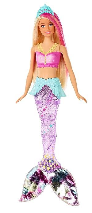 Barbie Dreamtopia poupée sirène lumière et danse aquatique à plonger dans l'eau, avec mouvements de nageoire, jouet pour enfant, GFL82