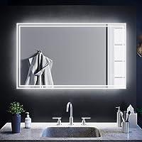 SIRHONA Miroir de Salle de Bain LED 100x60cm avec éclairage LED Miroir Cosmétiques Mural Lumière Illumination avec…