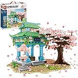 Sunbary Körsbärsträd byggstenar med byggplattor, 1106 delar Sakura träd byggsats med ljuseffekter, bonsai blomma, botanisk ko