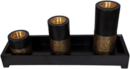 Art for Gifting Wooden Antique Half Brass Plated Three Pillar Candle Stand Height 17, 12, 7 Cms on a Tray 40 x 12 Cms.