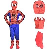 Culture Creation Super Hero Spider Man Dress for Kids Set of 4 (Costume,Gloves,Mask,Socks)