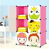 Armoires Etagères Plastiques Enfants Rose, Armoires Penderie Meubles de Rangement 6 Cubes pour Vêtements Chaussures Jouets Cartoon (Rose, 6 Cubes)