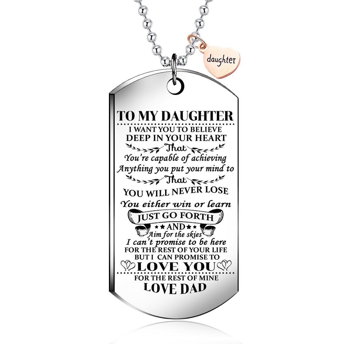 To My daughter from dad I Want You To Believe Love Dad Dog Tag Military Air Force Navy Coast Guard Necklace Ball Chain Gift for Best Son Birthday and Graduation