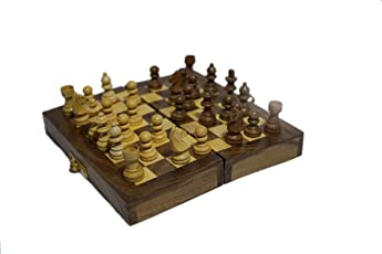 Lunatic CRAFTWORK Collectible Folding Hand Carved Wood / Wooden Chess Game 6X6 inches Board Set with Wooden Pieces