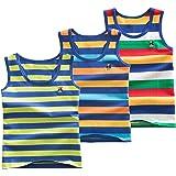 Coralup - Camiseta interior sin mangas para niños y niñas, 100% algodón, diseño de dinosaurio, 3 unidades, cómoda, transpira