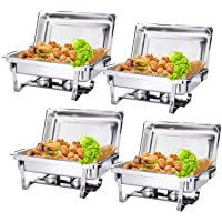 Display4top 9L Chafing dish plat-réchaud,Full Size Acier inoxydable Chafing Dish Set Buffet Silver Catering Warmer Set, For Buffet Catering Kitchen Party, Pack of 4